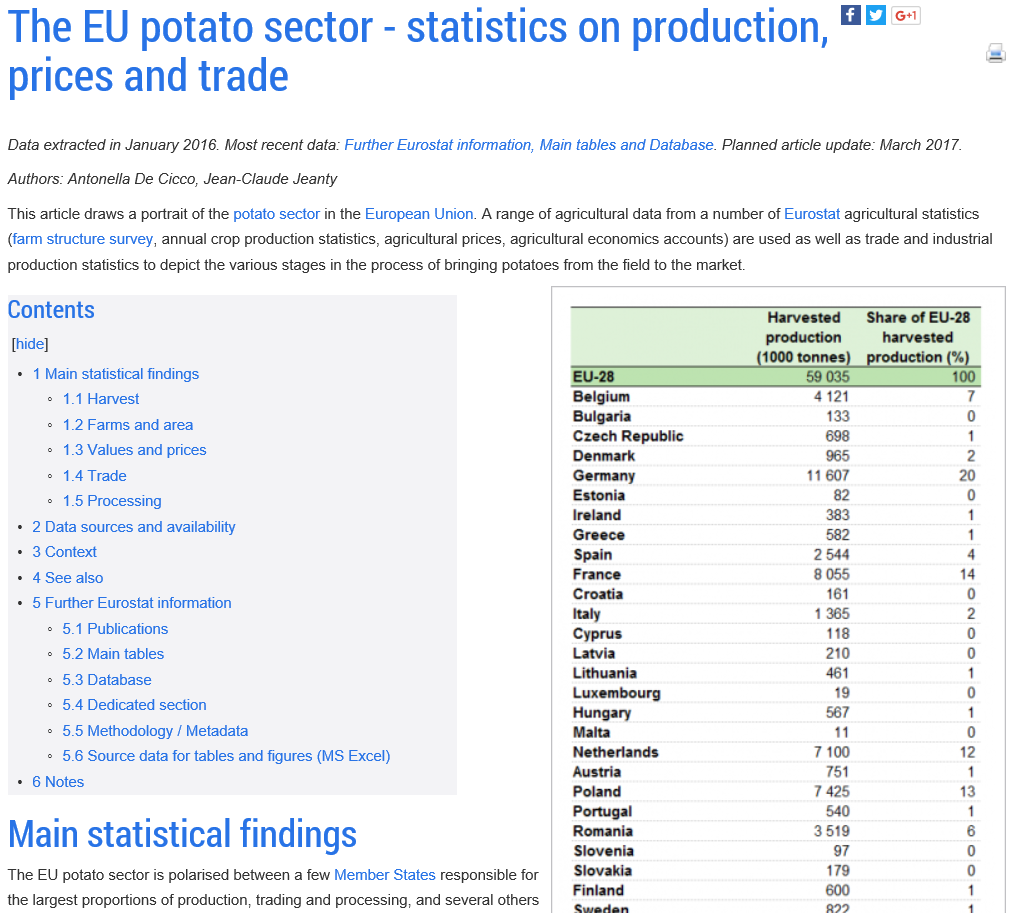 Eurostat potato sector stats page